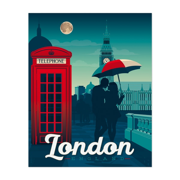 LONDON Travel Poster by Francois Beutier / Olahoop Travel Posters