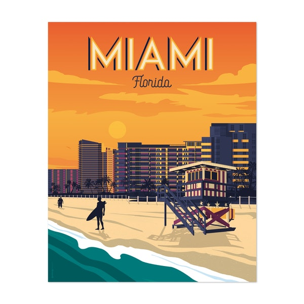 MIAMI Travel Poster by Francois Beutier / Olahoop Travel Posters