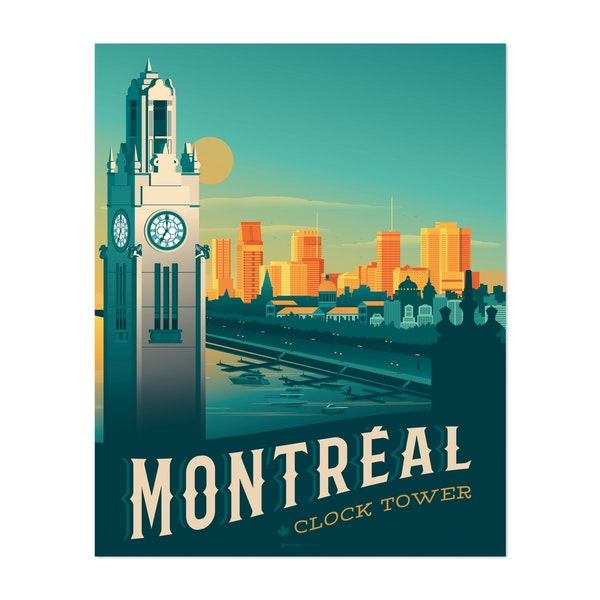 MONTREAL Travel Poster by Francois Beutier / Olahoop Travel Posters