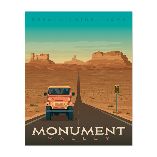 MONUMENT VALLEY Travel Poster by Francois Beutier / Olahoop Travel Posters