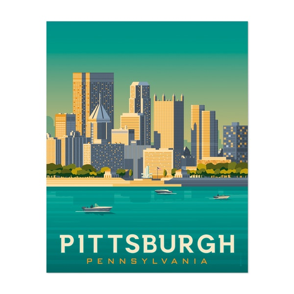 PITTSBURGH Travel Poster by Francois Beutier / Olahoop Travel Posters