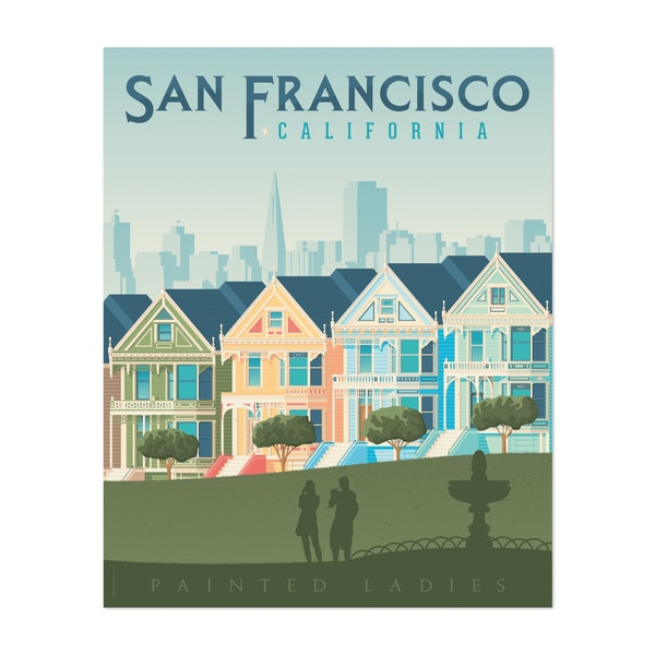 SAN FRANCISCO PAINTED LADIES Travel Poster by Francois Beutier / Olahoop Travel Posters