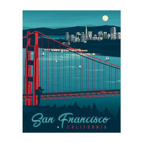 SAN FRANCISCO Travel Poster by Francois Beutier / Olahoop Travel Posters