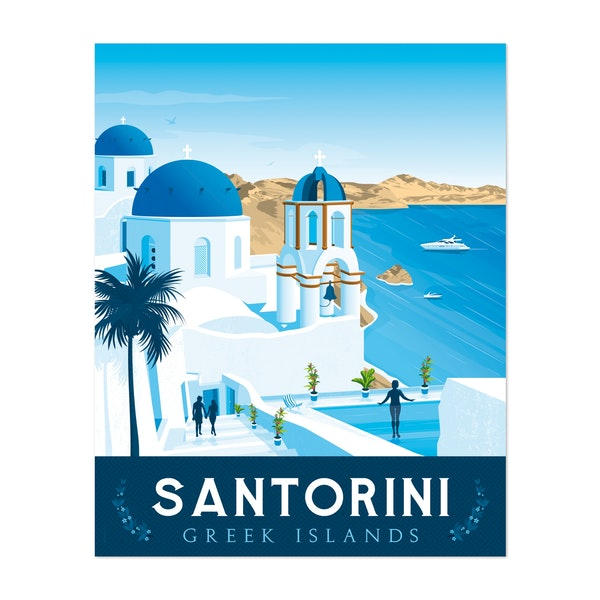 SANTORINI Travel Poster by Francois Beutier / Olahoop Travel Posters