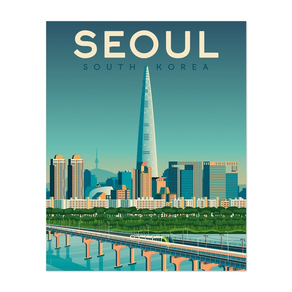 SEOUL Travel Poster by Francois Beutier / Olahoop Travel Posters