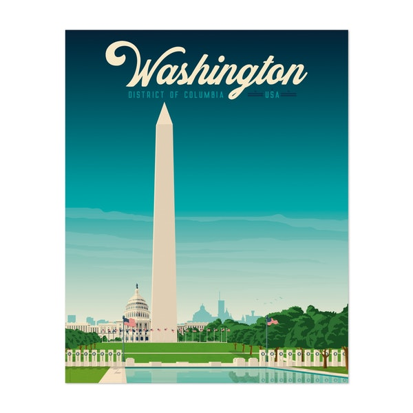 WASHINGTON DC Travel Poster by Francois Beutier / Olahoop Travel Posters