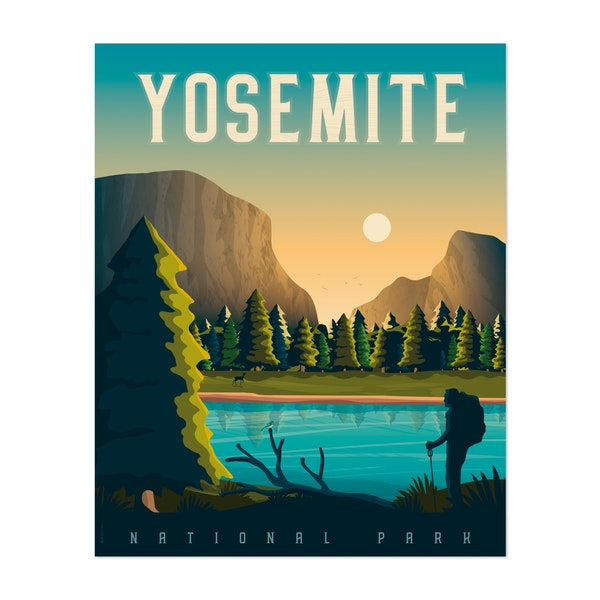YOSEMITE Travel Poster by Francois Beutier / Olahoop Travel Posters