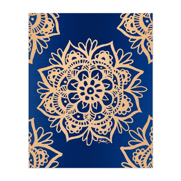 Blue and Gold Mandala by Julie Erin Designs