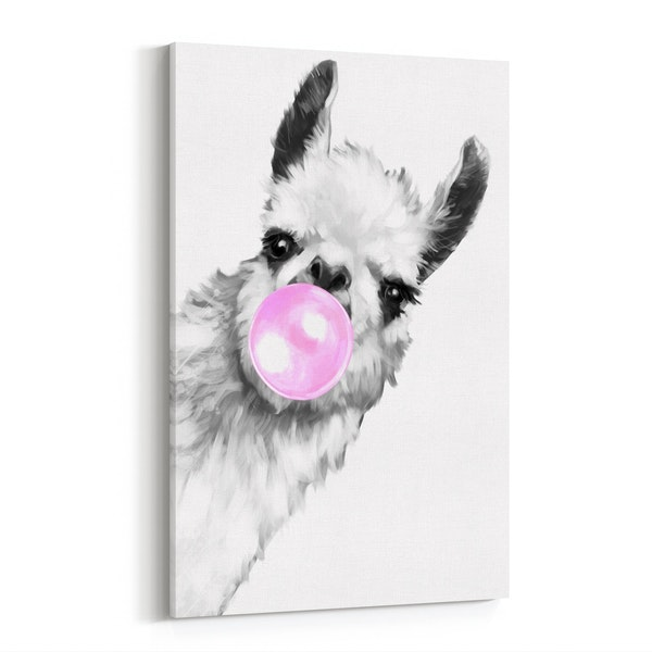 Bubble Gum Sneaky Llama Black & White by Big Nose Work
