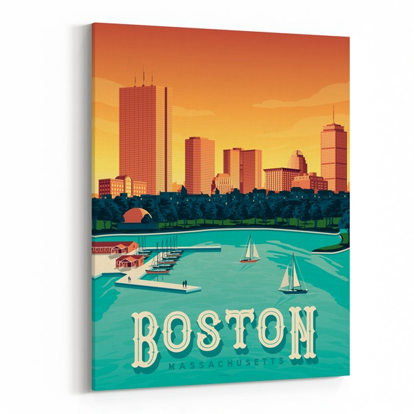 BOSTON Travel Poster by Francois Beutier / Olahoop Travel Posters