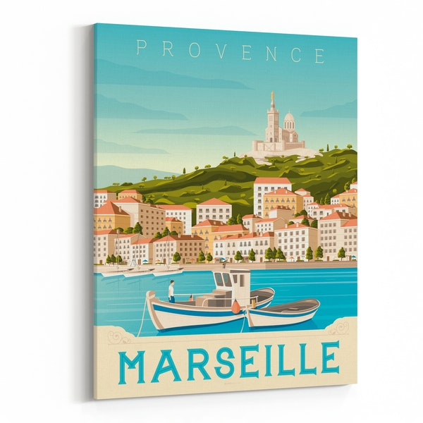 MARSEILLE Travel Poster by Francois Beutier / Olahoop Travel Posters