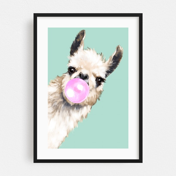 Bubble Gum Sneaky Llama in Green by Big Nose Work