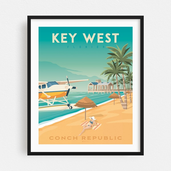KEY WEST Travel Poster by Francois Beutier / Olahoop Travel Posters