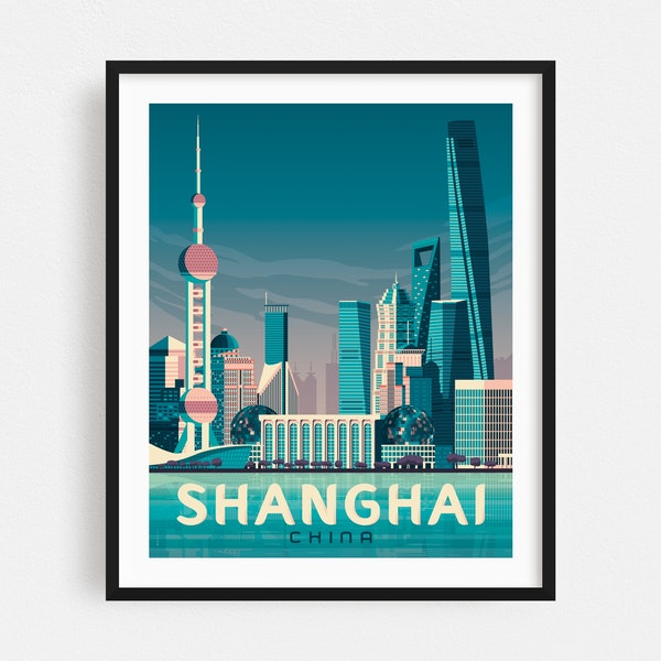 SHANGHAI Travel Poster by Francois Beutier / Olahoop Travel Posters