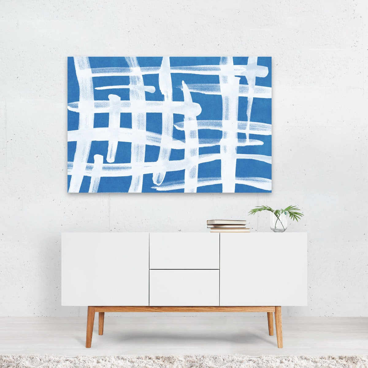 Abstract Lines Blue and White 02