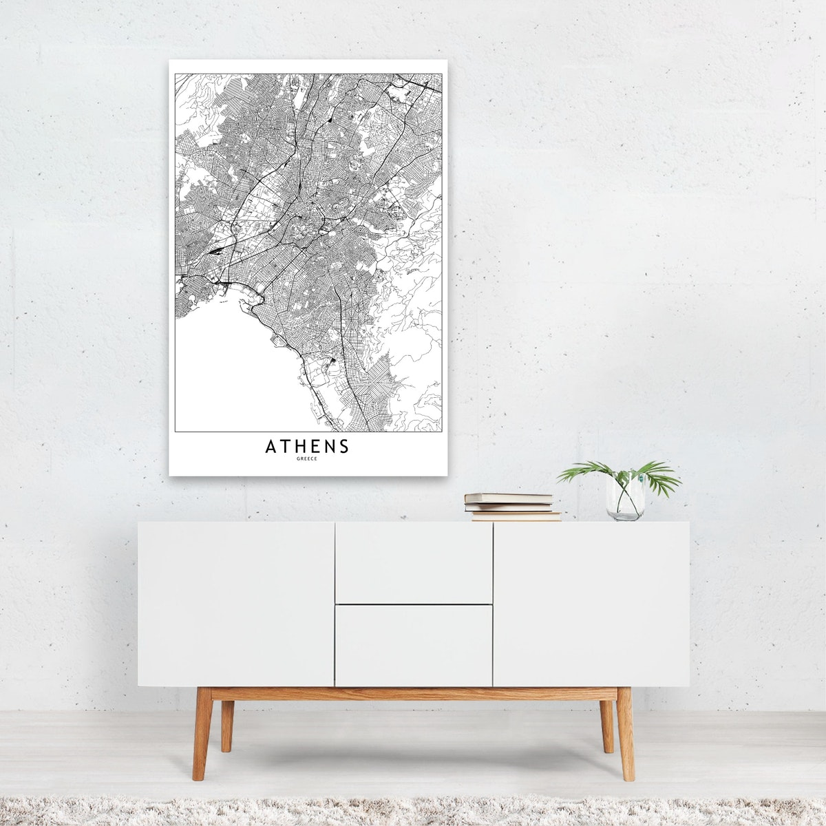 Athens White Map