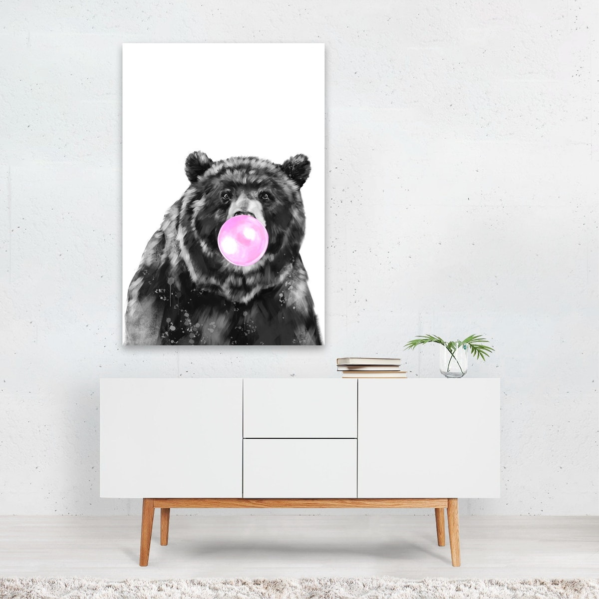 Bubble Gum Big Bear Black & White