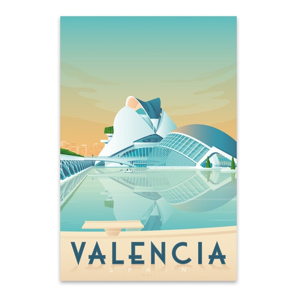 VALENCIA Travel Poster by Francois Beutier / Olahoop Travel Posters