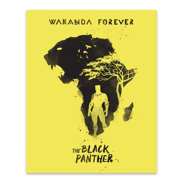 Black Panther Movie Poster by Golden Planet Prints