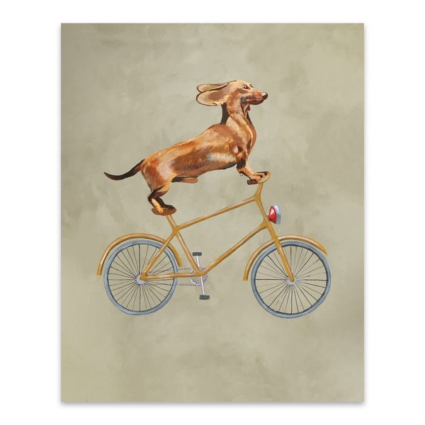Dachshund On Bicycle by Coco de Paris