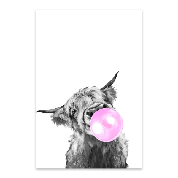 Bubble Gum Highland Cow Black & White by Big Nose Work