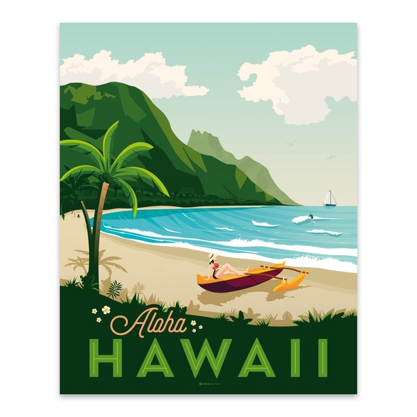HAWAII Travel Poster by Francois Beutier / Olahoop Travel Posters